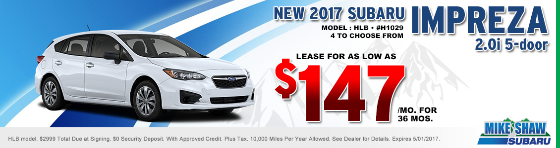 Save When You Lease a New 2017 Subaru Impreza 2.0i 5dr When You Use this Special Offer at Mike Shaw Subaru in Thornton, CO