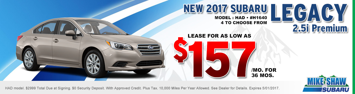 Save When You Lease a New 2017 Subaru Legacy 2.5i Premium When You Use this Special Offer at Mike Shaw Subaru in Thornton, CO