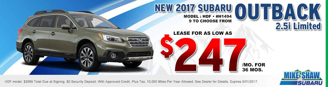 Save When You Lease a New 2017 Subaru Outback 2.5i Limited When You Use this Special Offer at Mike Shaw Subaru in Thornton, CO