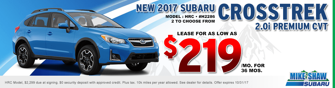 2017 Crosstrek 2.0 Premium CVT low payment lease special at Mike Shaw Subaru in Thornton, CO