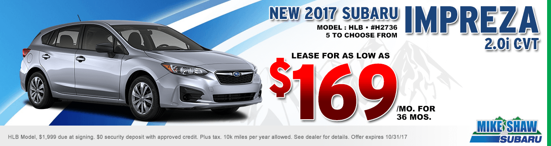 Lease a 2017 Impreza 2.0i CVT for a special low monthly payment at Mike Shaw Subaru serving Denver, CO