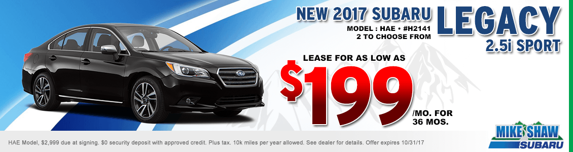 Lease a 2017 Legacy 2.5 Sport for a special low payment at Mike Shaw Subaru serving Denver, CO