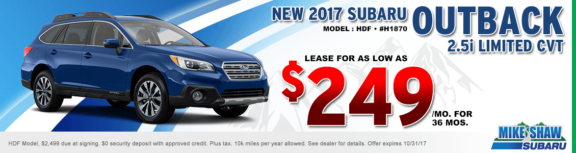 2017 Outback 2.5 Limited CVT low payment lease special at Mike Shaw Subaru in Thornton, CO