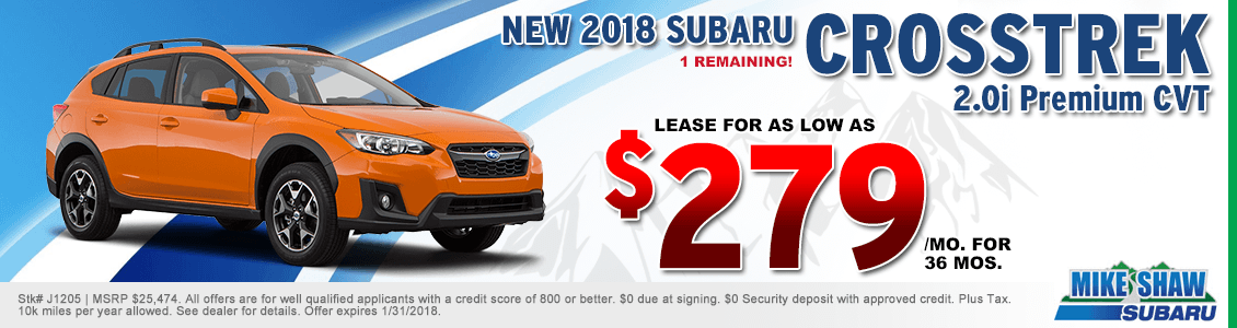 Lease a 2018 Crosstrek Premium 2.0i CVT for a special low monthly payment at Mike Shaw Subaru serving Denver, CO