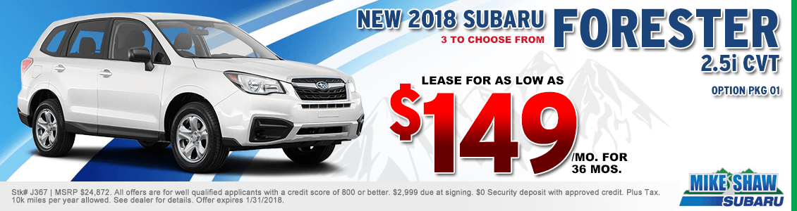 Lease a 2018 Forester 2.5i Base CVT for a special low monthly payment at Mike Shaw Subaru serving Denver, CO