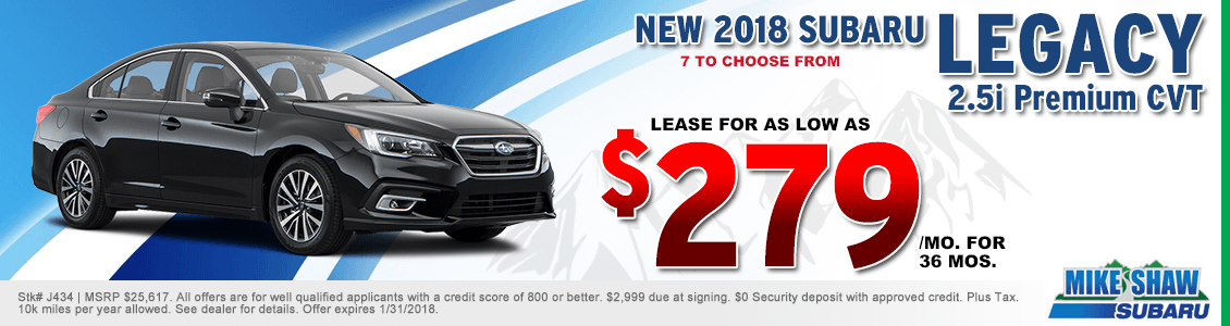Lease a 2018 Legacy 2.5i Premium CVT for a special low monthly payment at Mike Shaw Subaru serving Denver, CO