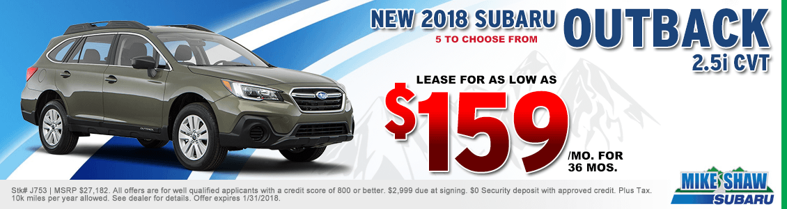 Lease a 2018 Outback 2.5i CVT for a special low monthly payment at Mike Shaw Subaru serving Denver, CO