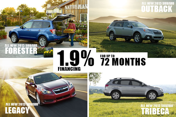 New 2013 Subaru Forester, Outback, Legacy & Tribecas 1.9% Financing for 72 months in Salt Lake City, Utah