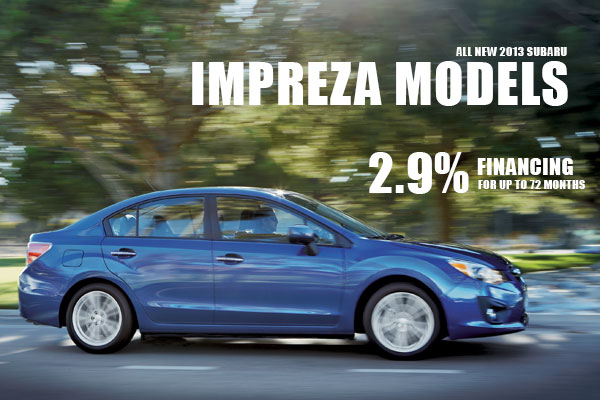 2.9% Financing on New 2013 Subaru Impreza Models in Salt Lake City Utah