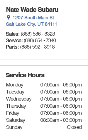 Nate Wade Subaru Service Department Hours, Location, Contact Information
