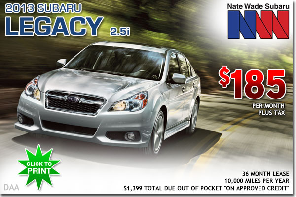 New 2013 Subaru Legacy 2.5i Lease Special Deal serving Salt Lake City, UT