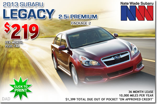 Utah 2013 Subaru Legacy 2.5i Premium Lease Special Offer serving Salt Lake City