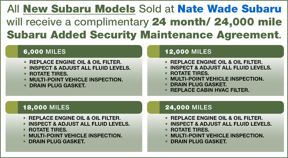 Nate Wade Subaru More To Love Security Maintenance Agreement