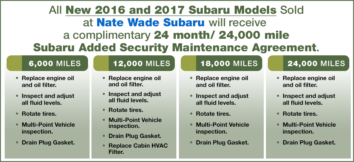 Nate Wade Subaru Added Security Maintenance Agreement