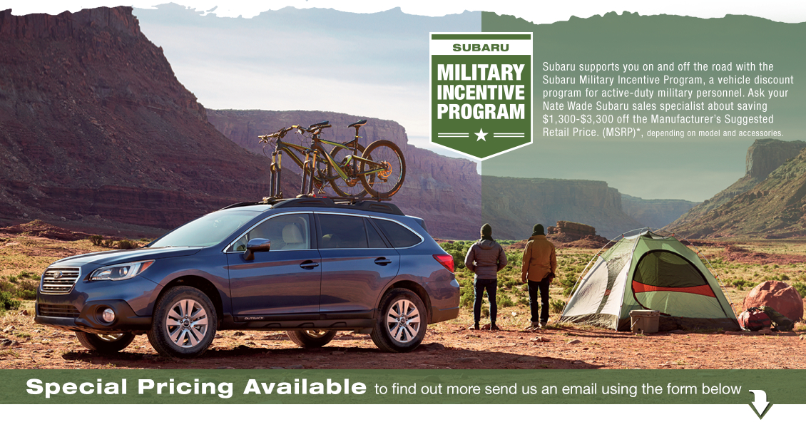 Special pricing on a new Subaru for active duty U.S. military men and women from Nate Wade Subaru in Salt Lake City, UT