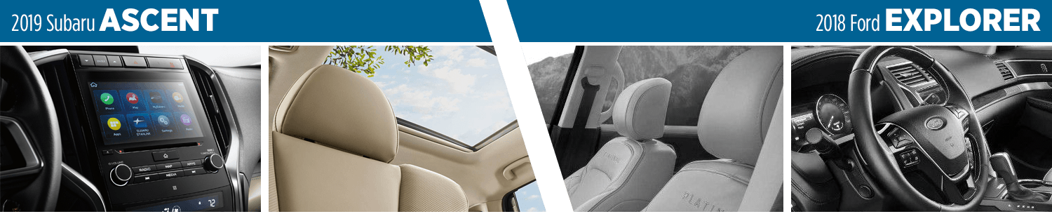 2019 Subaru Ascent vs 2018 Ford Explorer Interior Design Comparison