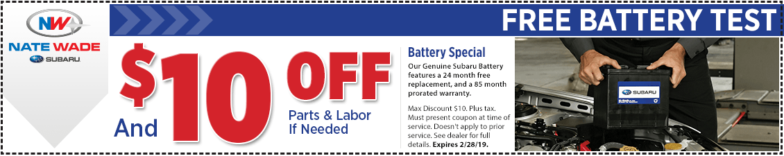 Click to print this Subaru free battery test service coupon good at Nate Wade Subaru in Salt lake City, UT