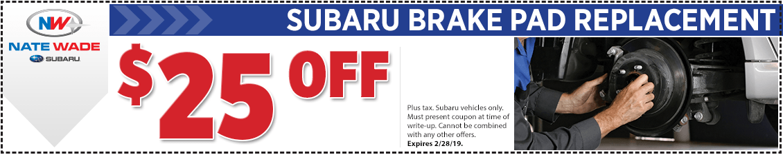 Click to print this Subaru brake pad replacement service coupon good at Nate Wade Subaru in Salt lake City, UT