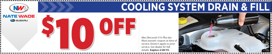 Click to print this Subaru coolant drain and fill service coupon good at Nate Wade Subaru in Salt lake City, UT