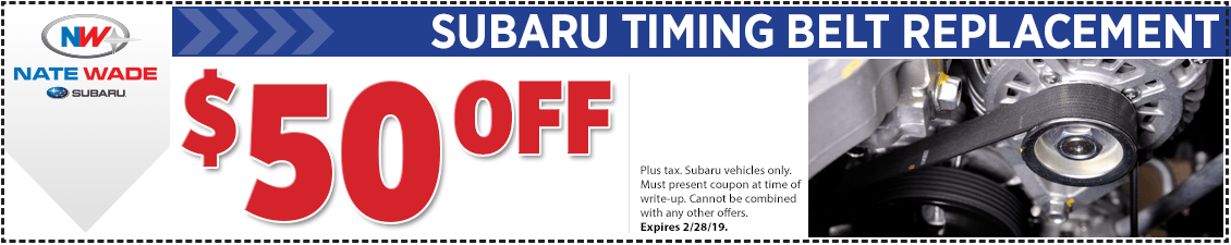 Click to print this Subaru timing belt replacement service coupon good at Nate Wade Subaru in Salt lake City, UT
