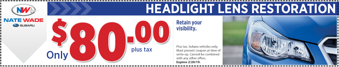 Click to print this Subaru headlight lens restore service coupon good at Nate Wade Subaru in Salt lake City, UT