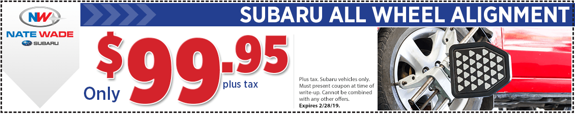 Click to print this Subaru all wheel alignment special service coupon good at Nate Wade Subaru in Salt lake City, UT