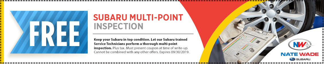 Click to print this Subaru free multi-point inspection service coupon good at Nate Wade Subaru in Salt lake City, UT