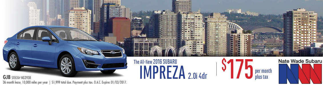 Save on a new 2016 Subaru Impreza Sedan with this special lease offer at Nate Wade Subaru in Salt Lake City, UT