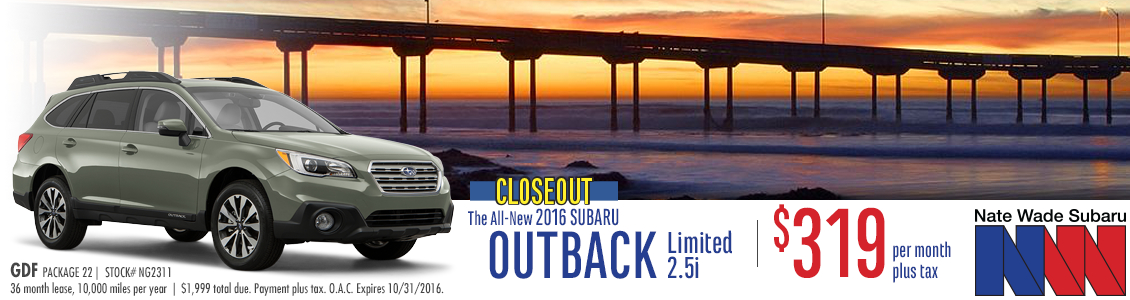 Special Lease Offer on a New 2016 Subaru Outback Limited in Salt Lake City at Nate Wade subaru
