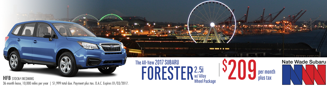 Get an outstanding lease deal on a new 2017 Forester at Nate Wade Subaru in Salt Lake City, UT