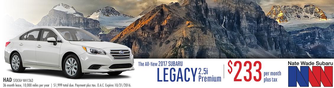 New 2017 Subaru Legacy 2.5i Premium Lease Special in Salt Lake City at Nate Wade Subaru