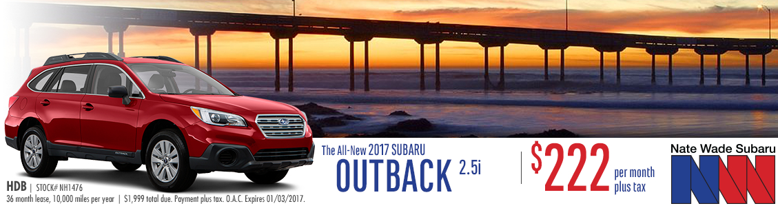 Save on a new 2017 Subaru Outback with this special lease offer at Nate Wade Subaru in Salt Lake City, UT