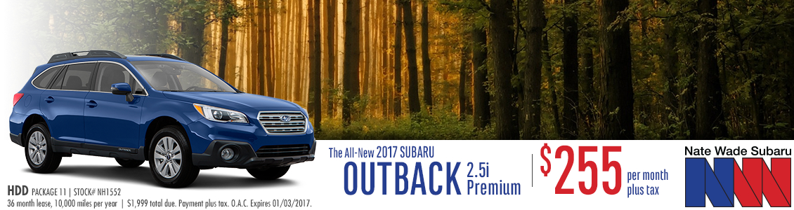 Special Lease Offer on a New 2017 Subaru Outback HDD in Salt Lake City at Nate Wade subaru