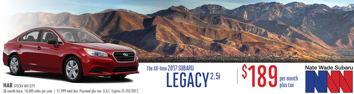 The new 2017 Legacy 2.5i is available to lease at a great payment at Nate Wade Subaru in Salt Lake City, UT