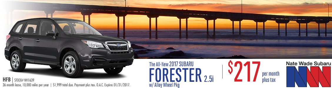 Lease this New 2017 Subaru Forester 2.5i with alloy wheel package from Nate Wade Subaru in Salt Lake City with discounted monthly lease payments