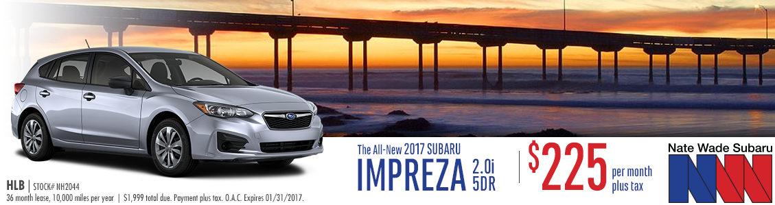 Nate Wade Subaru is offering this all new 2017 Subaru impreza hatchback in Salt Lake City with special low lease payments this month
