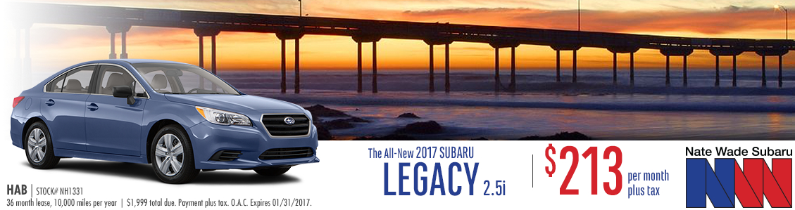 Don't miss out on these low monthly payments when you lease a New 2017 Subaru Legacy 2.5i from Nate Wade Subaru in Salt Lake City, UT