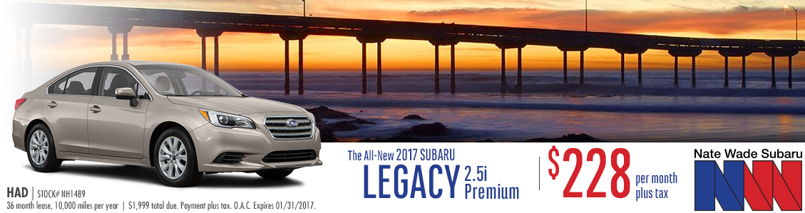 Lease this new 2017 Subaru Legacy 2.5i with alloy wheel package from Nate Wade Subaru with special low monthly payments in Salt Lake City, UT
