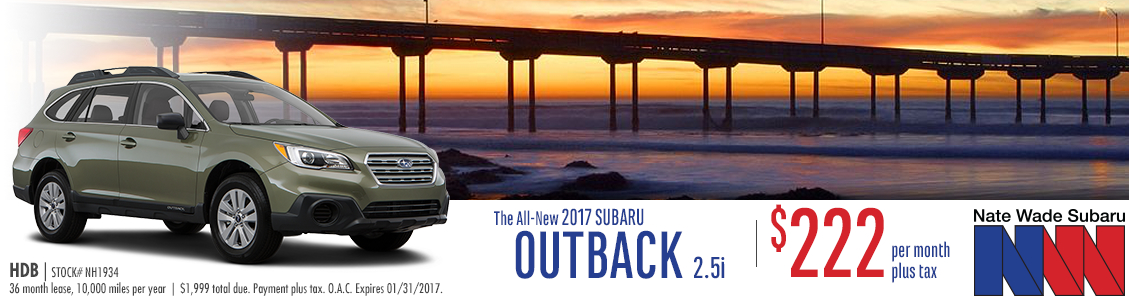 Save on your monthly payments when you lease a New 2017 Subaru Outback from Nate Wade Subaru in Salt Lake City, UT