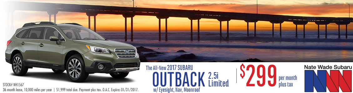 Lease a New 2017 Subaru Outback Limited in Salt Lake City with special low monthly payments from Nate Wade Subaru