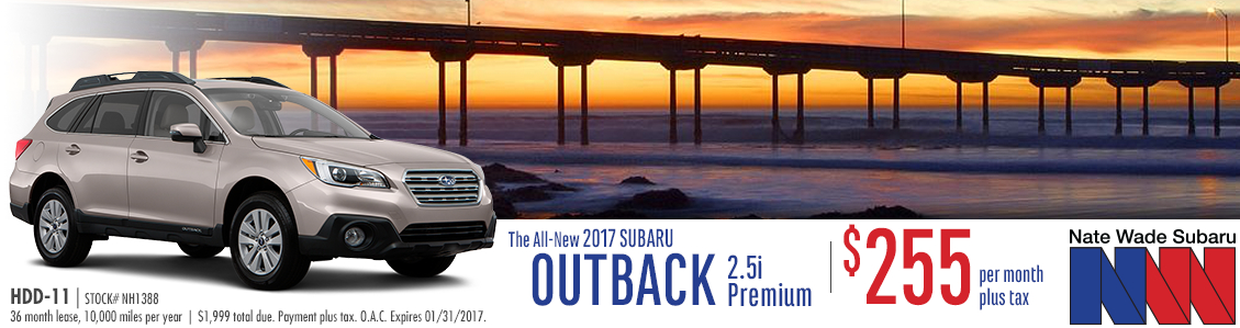 Take advantage of Nate Wade Subaru's New 2017 Outback 2.5i Premium Lease Special with low monthly payments in Salt Lake City, UT