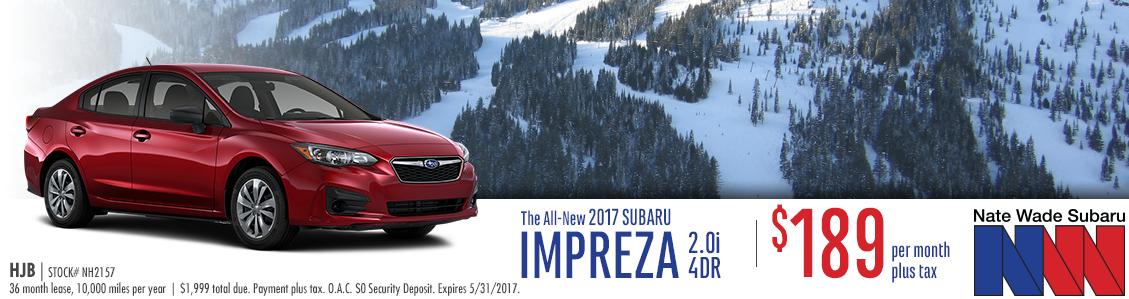 Nate Wade Subaru is offering this all new 2017 Subaru Impreza 2.0i Sedan in Salt Lake City with special low lease payments this month