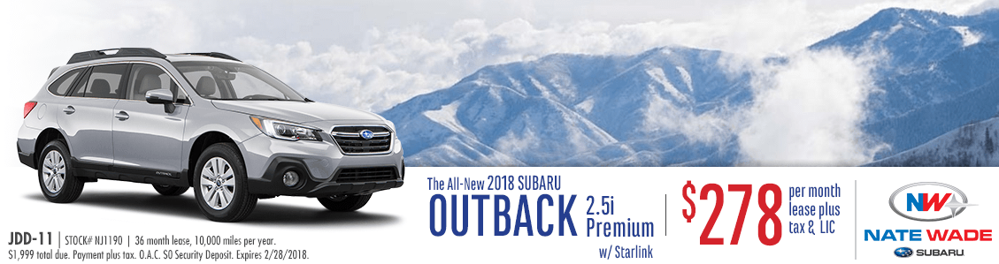 2018 Outback 2.5i Premium with Starlink Low Payment Lease Special at Nate Wade Subaru in Salt Lake City, UT