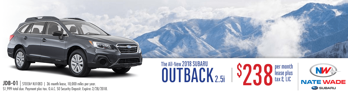 Lease a new 2018 Outback 2.5i and save at Nate Wade Subaru in Salt Lake City, UT