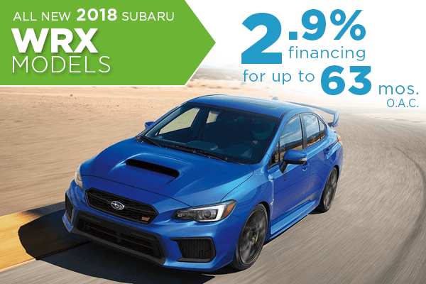 All New 2018 Subaru WRX 2.9% Finance Offer serving Taylorsville & Salt Lake City, UT