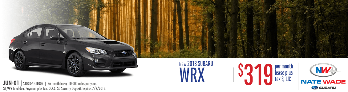 2018 Subaru WRX Low Monthly Payment Lease Special in Salt Lake City, UT