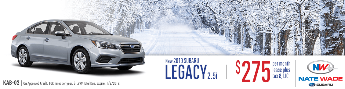 Lease a New 2019 Subaru Legacy 2.5i in Salt Lake City with special low monthly payments provided by Nate Wade Subaru