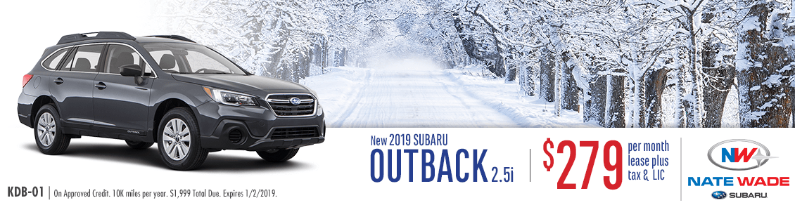 Low Monthly Lease Payments on a New 2019 Subaru Outback 2.5i at Nate Wade Subaru in Salt Lake City