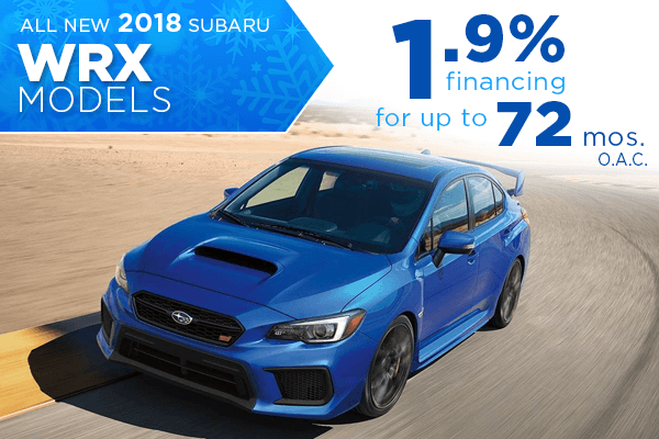 All New 2018 Subaru WRX 1.9% Finance Offer serving Taylorsville & Salt Lake City, UT