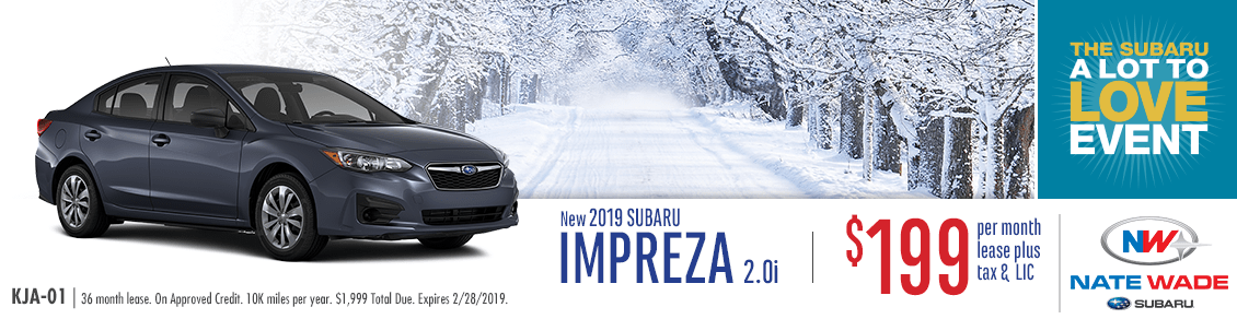 Lease a 2019 Impreza 2.0i for a Special Low Monthly Price at Nate Wade Subaru in Salt Lake City, UT